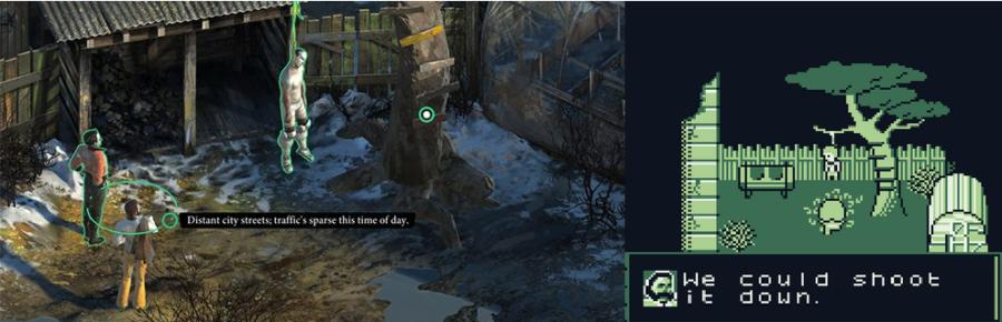 Um dos objetivos principais do protagonista é investigar e lidar com um cadáver pendurado.