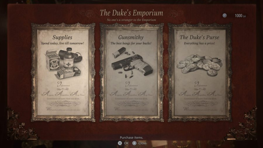 Compra, venda e aprimoramento de itens pelo Duque.